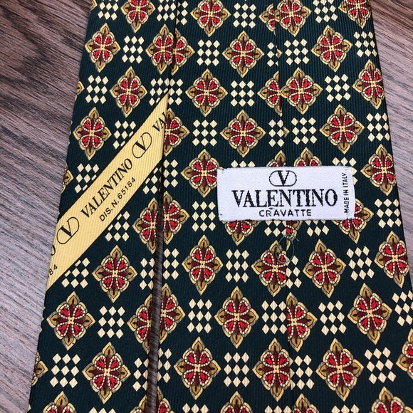Valentino Other - Valentino Green w/ Gold & Red Check Tie